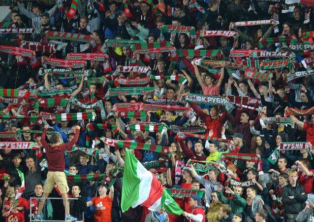 Rubin fans during a match of the 6th round of the Russian Football Premier League championship between FC Rubin Kazan and FC Zenit St. Petersburg