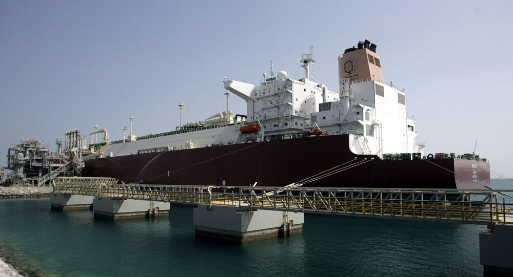 LNG carrier 'Mozah' docked at Ras Laffan port near Doha on Saturday, April 4, 2009