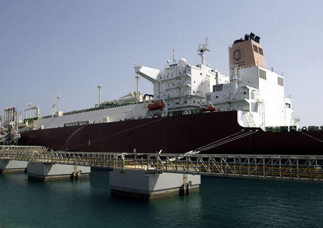 LNG carrier 'Mozah' docked at Ras Laffan port near Doha on Saturday, April 4, 2009