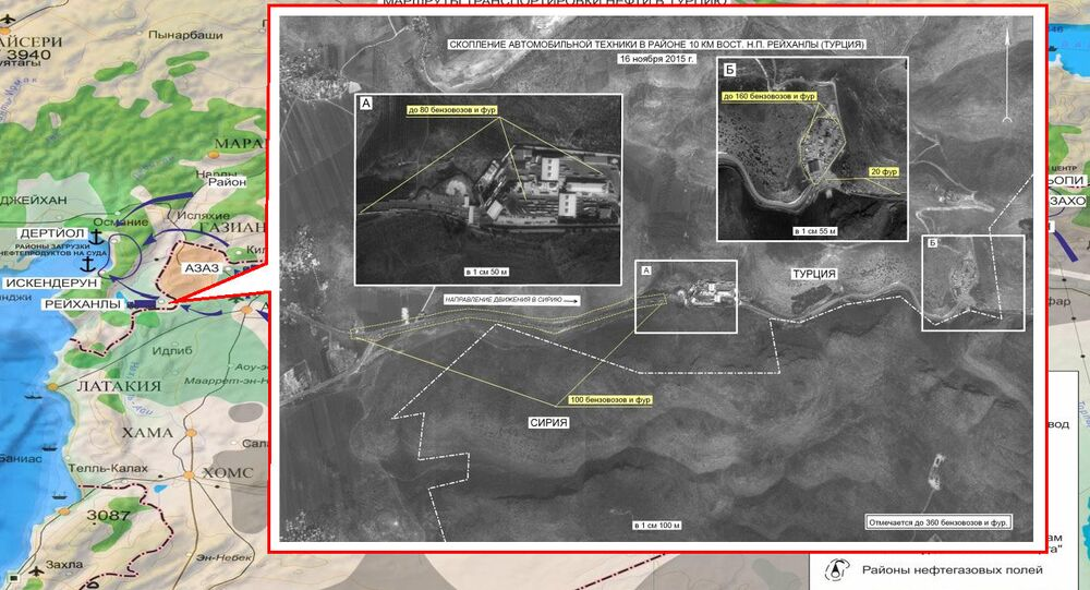 Concentration of vehicles near Azaz District in Syria. Maximum available quality. (Still frames of the Russian Defense Ministry.)