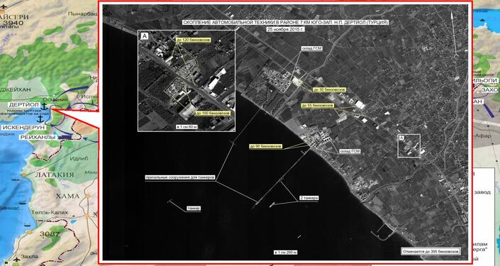 Concentration of vehicles near Dortyol in Turkey. Maximum available quality. (Still frames of the Russian Defense Ministry.)