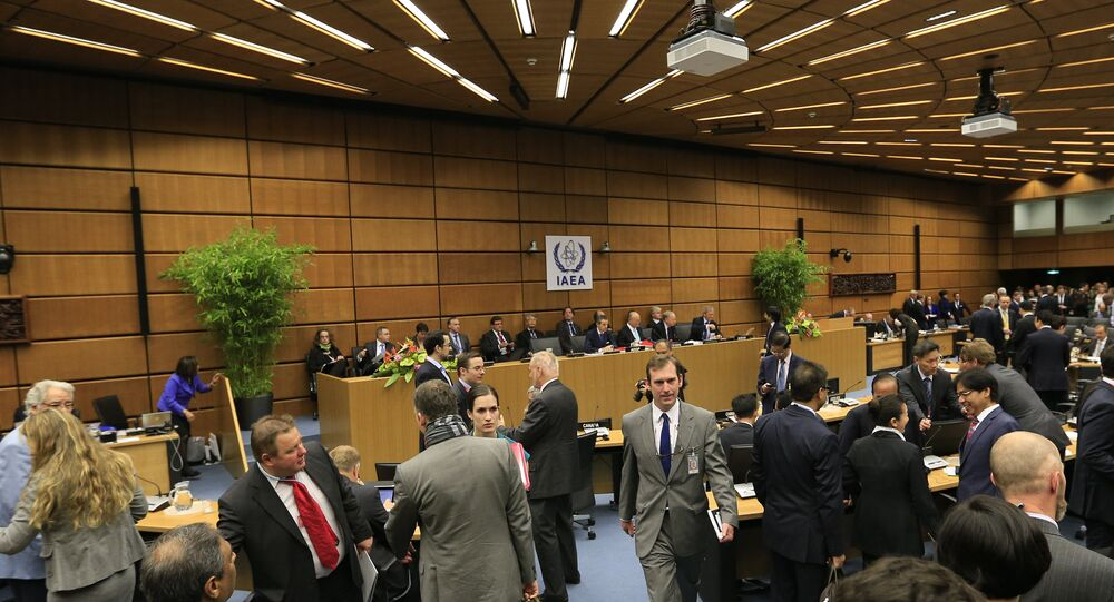 General view shows the International Atomic Energy Agency (IAEA) Board of Governors meeting at the UN atomic agency headquarters in Vienna on June 3, 2013