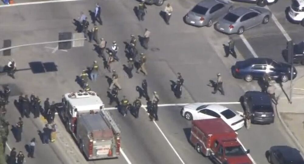First responders at a scene of shooting in San Bernardino California