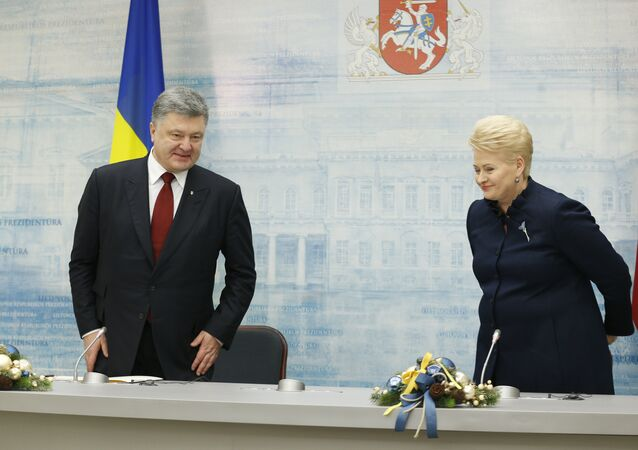Ukraine's President, Petro Poroshenko, left, and Lithuania's President, Dalia Grybauskaite, smiles before the news conference after thir meeting in the President palace in Vilnius, Lithuania, Wednesday, Dec. 2, 2015