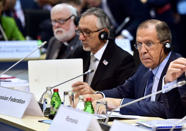 Foreign Minister of the Russian Federation Sergey Lavrov prepares for the opening of the annual ministerial council of the Organisation for Security and Cooperation in Europe (OSCE) at the Kombank Arena in Belgrade on December 3, 2015