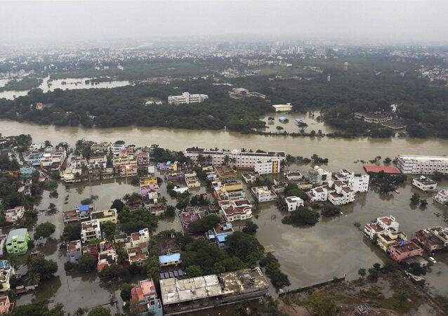 This 3 December 2015 aerial photo shows flood-hit Chennai following heavy rains in India