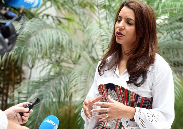 Tunisian Minister of Tourism Amel Karboul speaks to journalists in the Tunisian island of Djerba on May 18, 2014
