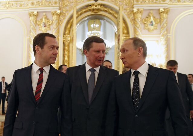 December 3, 2015. From right: Russian President Vladimir Putin, Chief of Staff of the Presidential Executive Office Sergei Ivanov and Prime Minister Dmitry Medvedev after Vladimir Putin's Presidential Address to the Federal Assembly at the Kremlin's St. George Hall