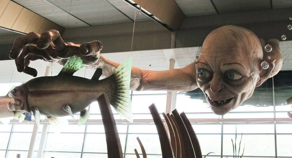 In this Nov. 24, 2012 file photo, a giant sculpture of Gollum, a character from The Hobbit, is displayed in the Wellington Airport to celebrate the Nov. 28 premiere of The Hobbit: An Unexpected Journey, the first movie in the trilogy, in Wellington, New Zealand