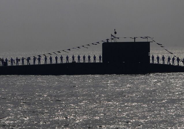 Indian Navy personnel stand on a submarine during the Presidents Fleet Review (PFR) in the Arabian Sea off the coast of Mumbai, India. (File)