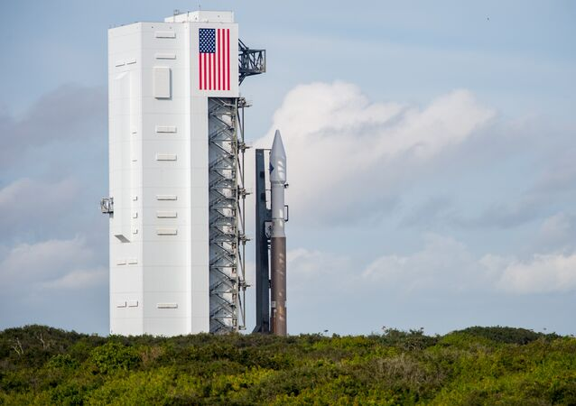 The United Launch Alliance Atlas V rocket with Orbital ATK's Cygnus spacecraft onboard is seen shortly after Launch Complex 41 Vertical Integration Facility on December 2, 2015