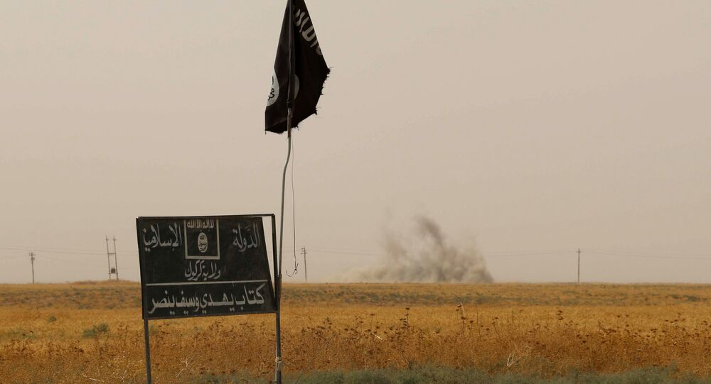 Smoke rises in the distance behind an Islamic State (IS) group flag and banner