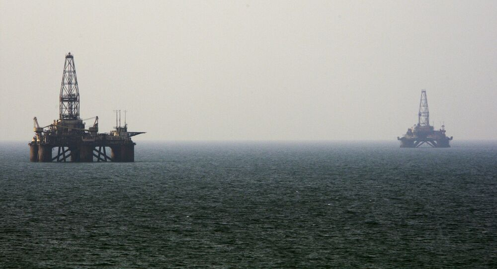 Oil rigs in the Caspian Sea