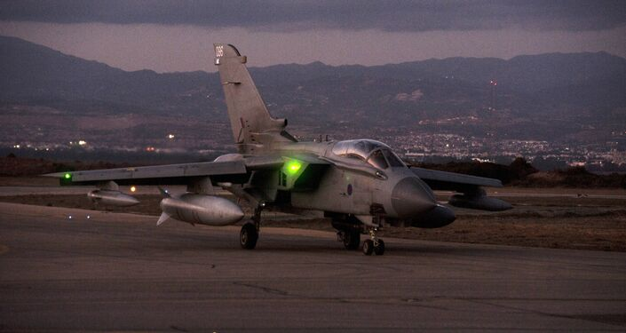 British Royal Air Force Tornado GR4 aircraft is seen on the tarmac at the British airbase at Akrotiri, near Cyprus' second city of Limassol on December 3, 2015