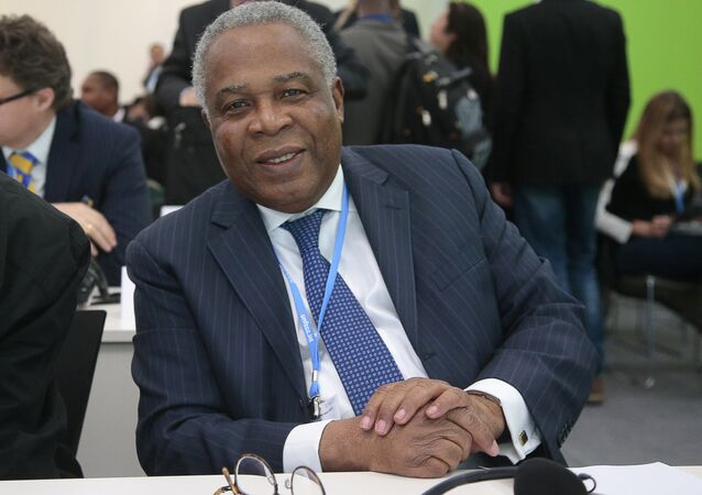 Togo's Minister of Environment Andre Johnson attends a Climate and Clean Air Coalition (CCAC) event focused on progress and objectives in reducing pollutant emissions on December 4, 2015, during the World Climate Change Conference 2015 (COP21), in Le Bourget, on the outskirts of Paris.