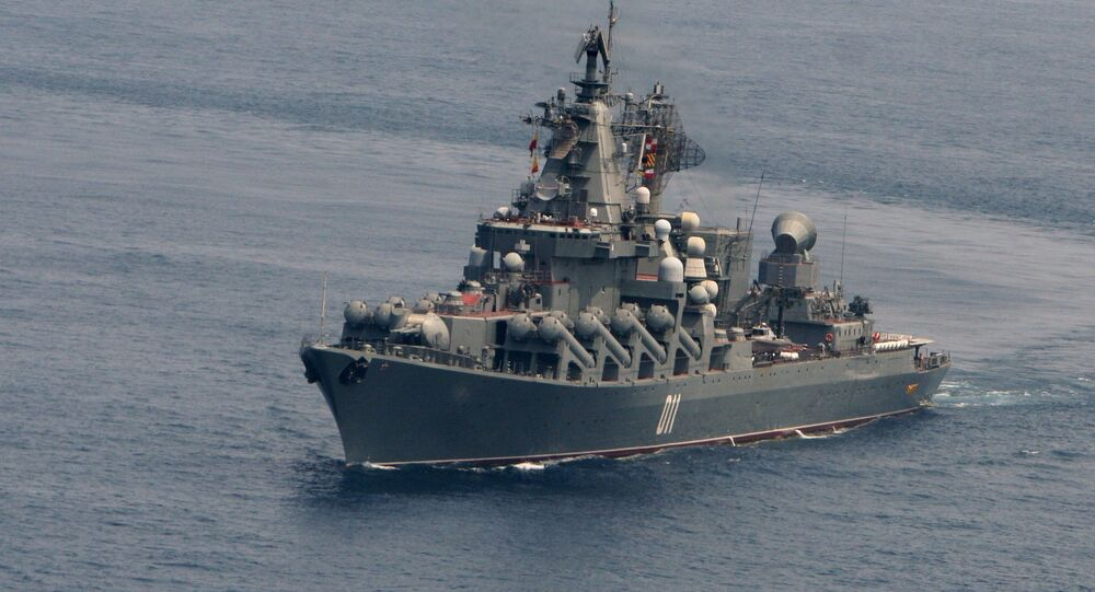 Russia's guided-missile cruiser Varyag during joint maneuvering of Russian and Indian military vessels held as part of the naval exercise