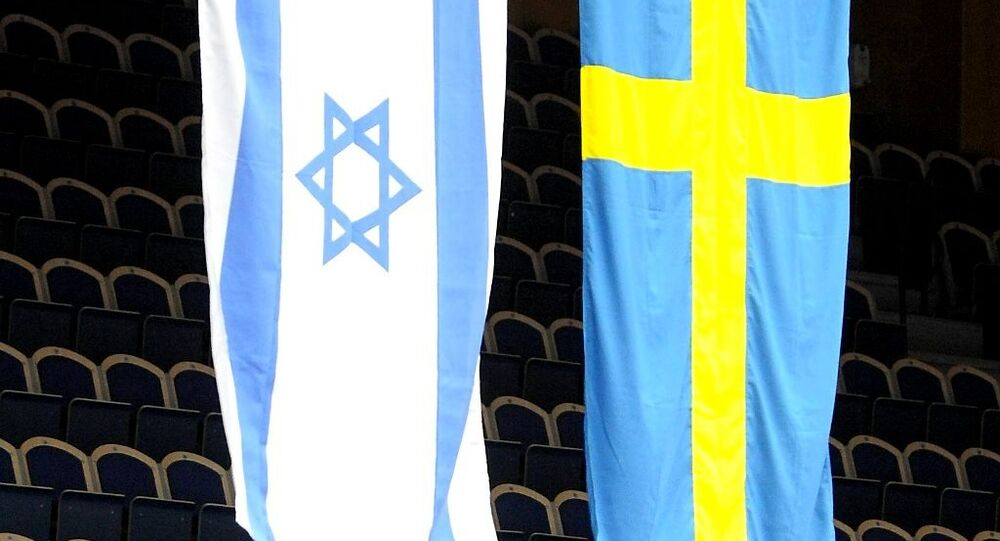 The Israeli and Swedish flags in the Baltic Arena in Malmo, Sweden, Friday March 6, 2009. (photo used as illustration only)