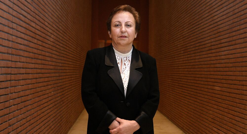 Iranian Nobel Peace laureate Shirin Ebadi poses on December 12, 2014 during the 14th World Summit of Nobel Peace Laureates in Rome