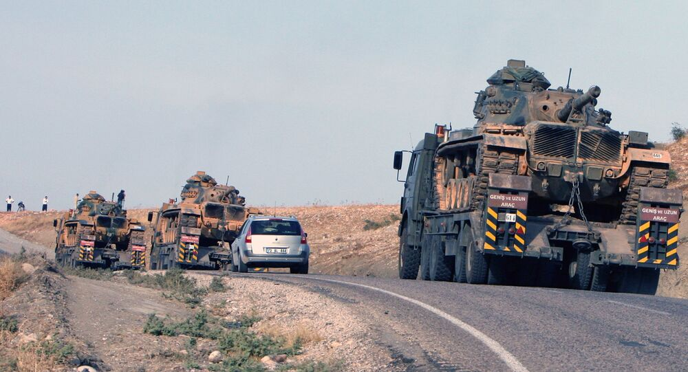 Turkish army's tanks at the Turkey-Iraq border . (File)