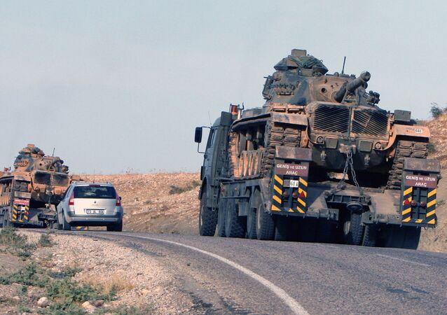 Tanks of the Turkish army at the Turkey-Iraq border . (File)