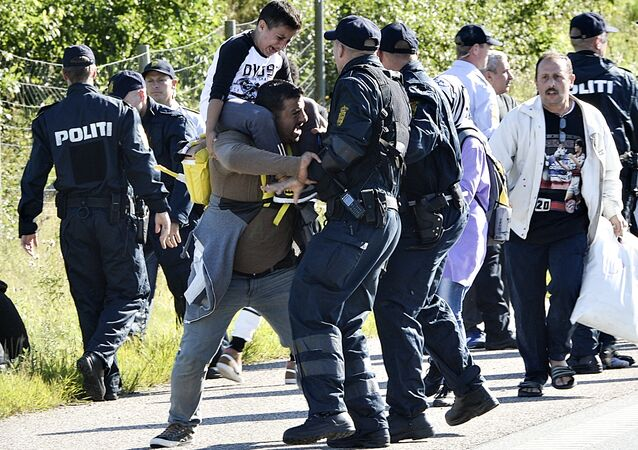Danish police clash with one of around 300 migrants who were walking north on a highway in southern Denmark (File)