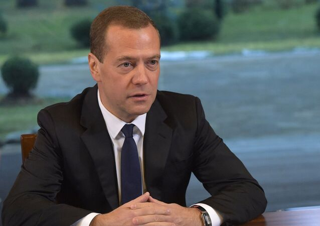Russian Prime Minister Dmitry Medvedev meets with activists of All-Russia People's Front
