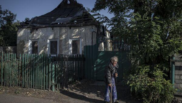 Residents of Staromikhailovka village in Donetsk region - Sputnik International