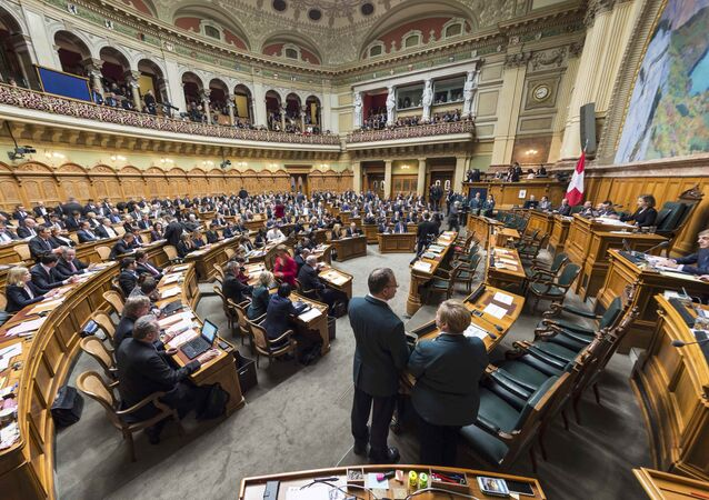 Overview of the National Council during the ministerial elections in the Swiss Parliament during the winter session in Bern, Switzerland December 9, 2015