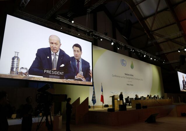 French Foreign Minister Laurent Fabius, President-designate of COP21, delivers his speech during the World Climate Change Conference 2015 (COP21) at Le Bourget, near Paris, France, December 9, 2015