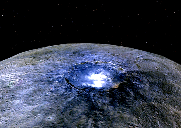 This representation of Ceres' Occator Crater in false colors shows differences in the surface composition.