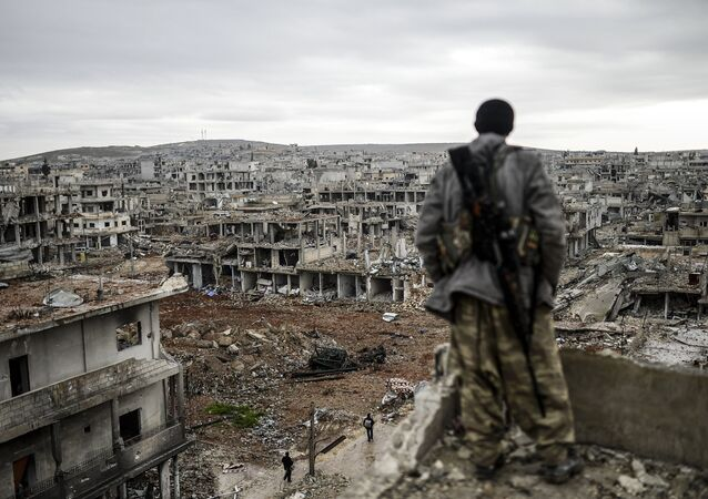Musa, a 25-year-old Kurdish marksman, stands atop a building as he looks at the destroyed Syrian town of Kobane, also known as Ain al-Arab, on January 30, 2015