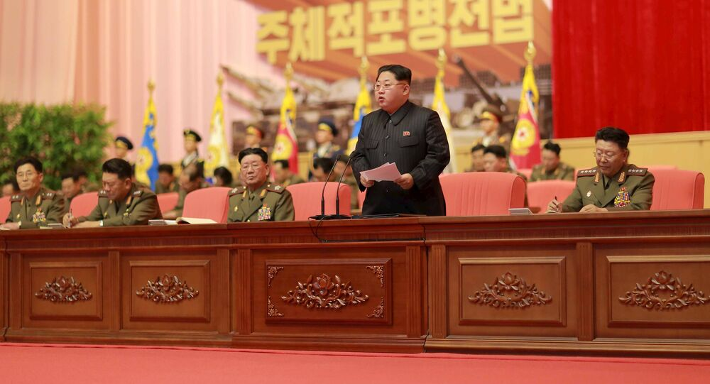 File Photo: North Korean leader Kim Jong Un addresses the fourth conference of artillery personnel of the Korean People's Army (KPA) at the April 25 House of Culture in this undated photo released by North Korea's Korean Central News Agency (KCNA) in Pyongyang December 5, 2015
