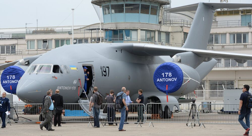 Antonov An-178 Ukrainian military transport aircraft at the 51st International Paris Air Show - Le Bourget 2015 held at Le Bourget Exhibition Centre in France.
