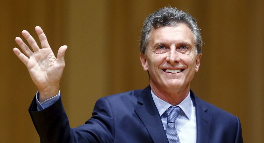 Argentina's President-elect Mauricio Macri acknowledges the audience as he attends the inauguration of incoming Buenos Aires' City Mayor Horacio Rodriguez Larreta (not seen) in Buenos Aires December 9, 2015