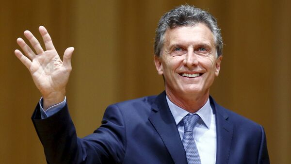 Argentina's President-elect Mauricio Macri acknowledges the audience as he attends the inauguration of incoming Buenos Aires' City Mayor Horacio Rodriguez Larreta (not seen) in Buenos Aires December 9, 2015 - Sputnik International