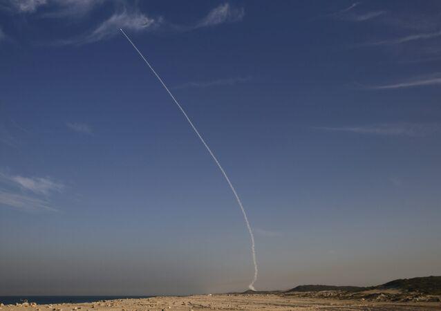 An Arrow 3 ballistic missile interceptor is seen during its test launch near Ashdod December 10, 2015.