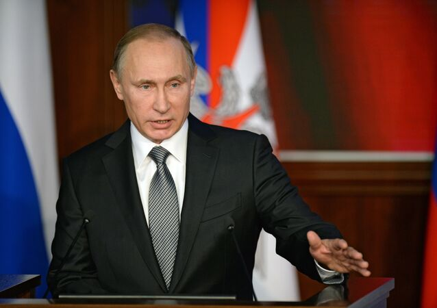 Russian President Vladimir Putin at Russian defense Ministry meeting