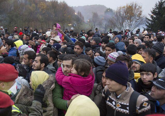 Migrants cue to enter Austria in Sentilj, Slovenia, Thursday, Oct. 29, 2015.