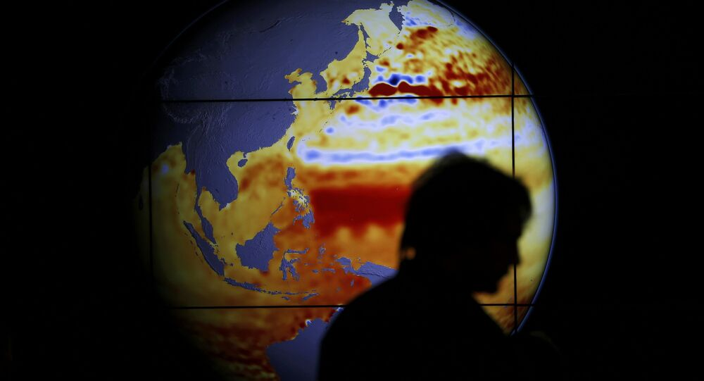 A woman walks past a map showing the elevation of the sea in the last 22 years during the World Climate Change Conference 2015 (COP21) at Le Bourget, near Paris, France, December 11, 2015