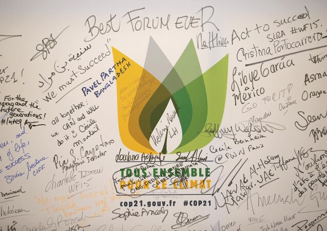Messages are written on a wall during the World Climate Change Conference 2015 (COP21) at Le Bourget, near Paris, France, December 9, 2015