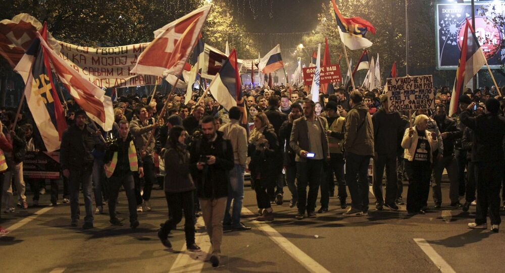 Demonstrators take part in an anti-NATO protest march in Podgorica, Montenegro