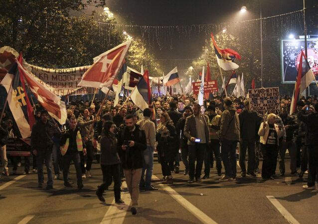 Demonstrators take part in an anti-NATO protest march in Podgorica, Montenegro. File photo