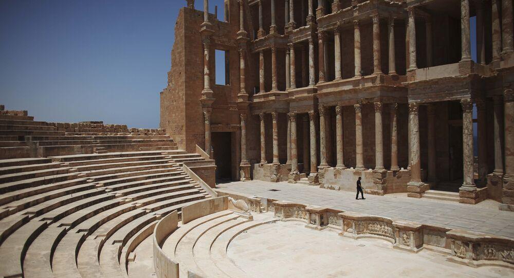 Roman amphitheater at the Sabratha archaeological site in Sabratha Libya