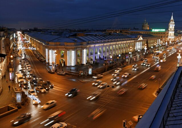 View of the Apraksin Dvor and Nevsky Prospect in St. Petersburg.