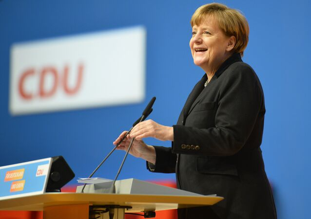 German Chancellor Angela Merkel speaks during a party convention of the Christian Democrats (CDU) in Karlsruhe, Germany, Monday, Dec. 14, 2015.