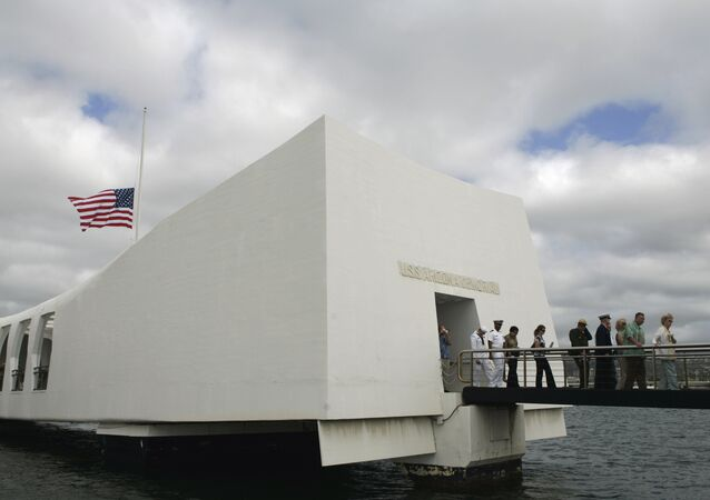 USS Arizona Memorial during the 68th anniversary ceremony of the attack on Pearl Harbor at cNaval Base in Honolulu. (File)