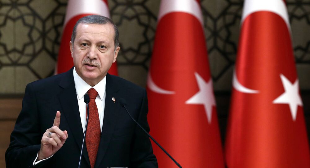 Turkey's President Recep Tayyip Erdogan addresses a meeting in Ankara, Turkey.