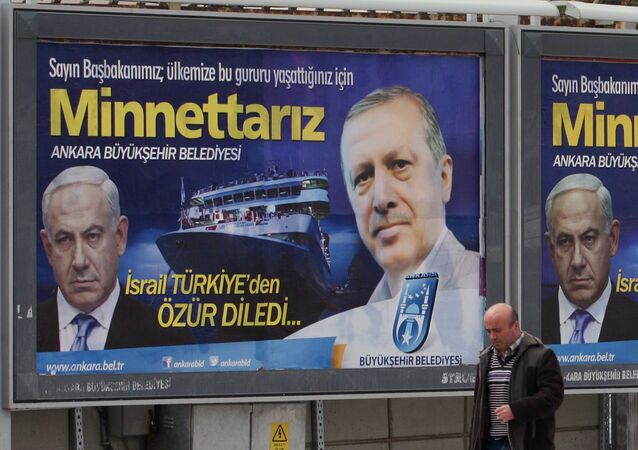 A billboard with photos of Israeli Prime Minister Benjamin Netanyahu and his Turkish counterpart Recep Tayyip Erdogan, placed on a main street by the Ankara.