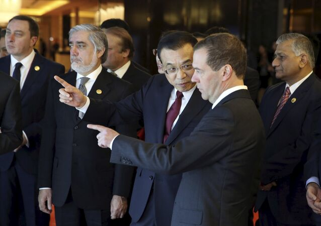 Chinese Premier Li Keqiang (C) talks to his Russian counterpart Dmitry Medvedev (front).