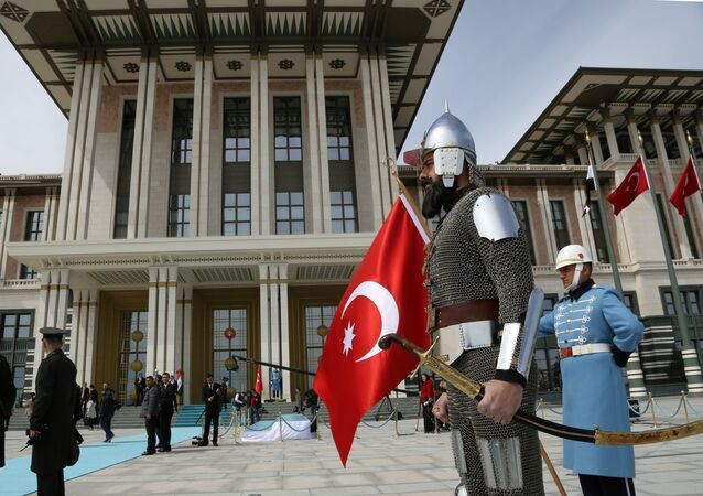 A Turkish military guard of honour in historical warrior gear stands outside President Recep Tayyip Erdogan's new, more than 1,000-room palace, after a ceremony for Iraqi President Fuad Masoum, in Ankara, Turkey, Wednesday, April 22, 2015